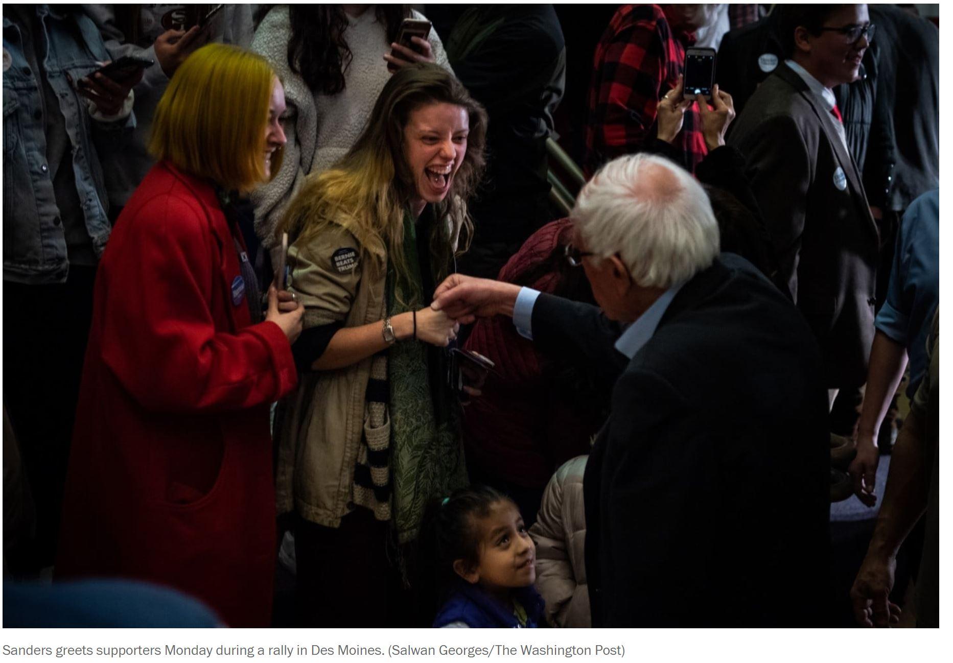 Bernie Fist-Bumps with an Iowa Mom's Daughter 1-23-2020.JPG